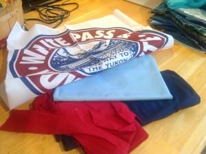 table runner made from Alaskan flag