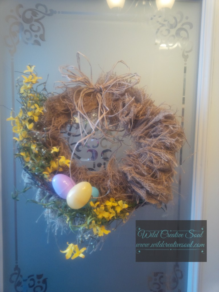 Easter Wreath in burlap
