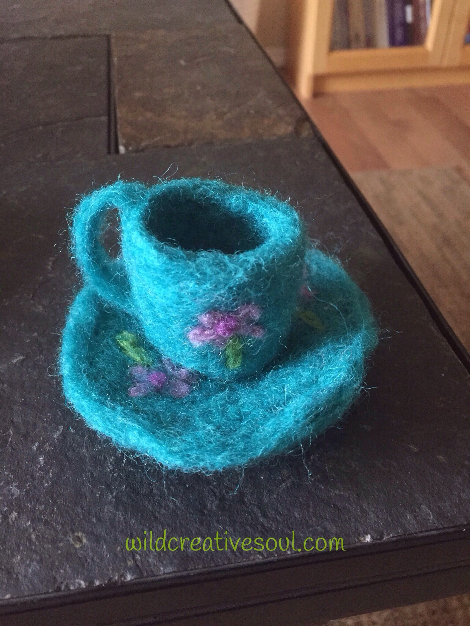 Needle felting tea cup