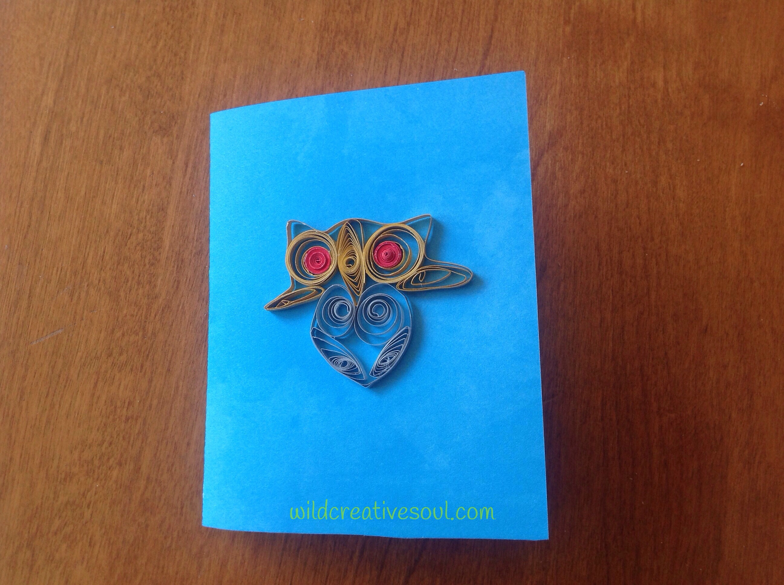 Paper quilled owl card