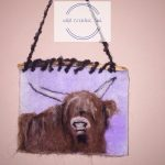 Felted art cow
