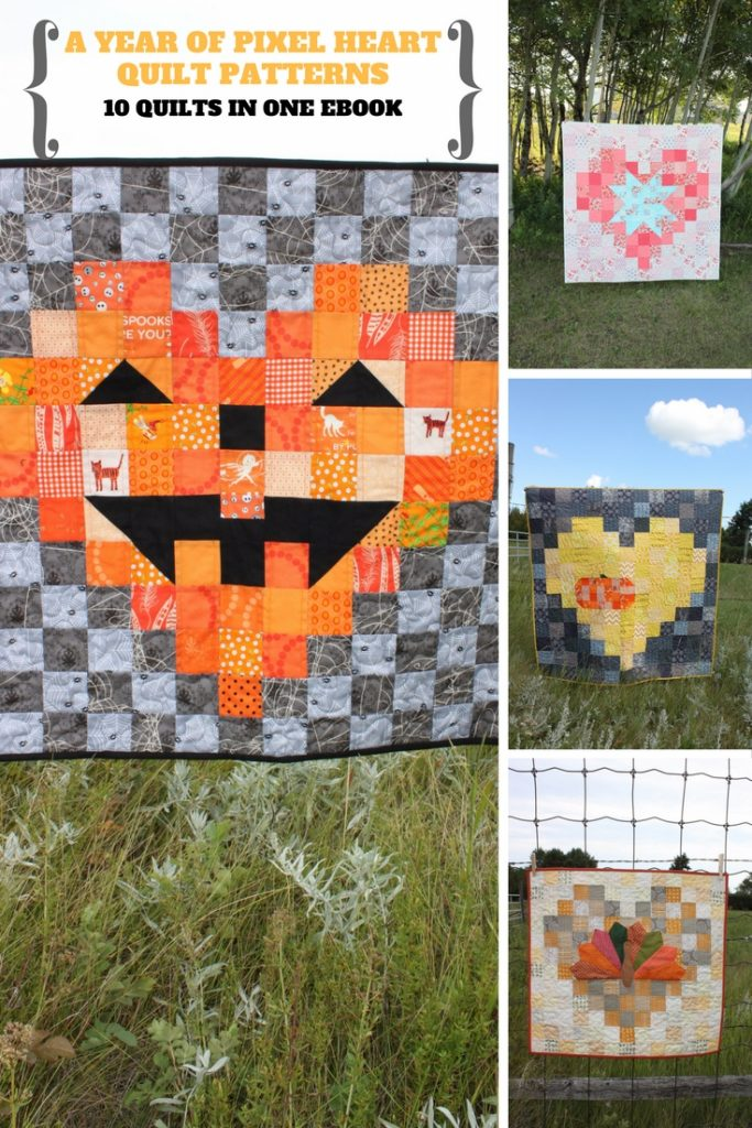 Ebook pics from a Year of Pixel Heart Quilts